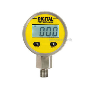Battery powered 316 Body Digital Pressure Gauge 0 25mpa 3v Npt1 4 4 Lcd Display