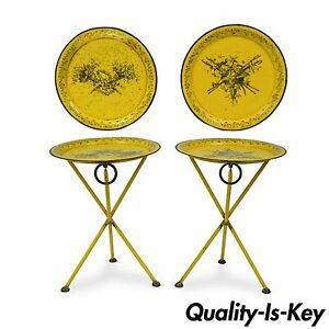 Pair Of Vtg Italian Neoclassical Tole Metal Folding Side Tables Yellow Harvest