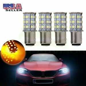 4x 1157 Cree Led White Amber 60 Smd 6000k Switchback Hid Turn Signal Light 60w