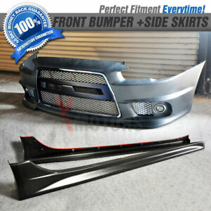 Fit 08 15 Lancer Gt Evo Chrome Pp Front Bumper Grill Fog Lamp Side Skirts