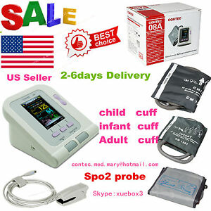 Usa Ce Fda Arm Digital Blood Pressure Monitor Contec08a 3 Cuffs spo2 pr software