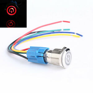Hs 19mm 12v Car Red Led Metal Push Button Toggle Switch Socket Plug For Car