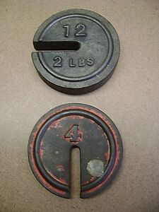 Pair Of General Store Scale Weights Mercantile Cast Iron 1 2 Lbs Collectibles