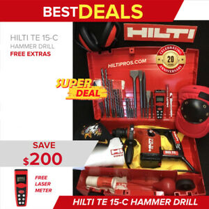 Hilti Te 15 c Hammer Drill free Bits Chisels Laser Meter Quick Shipping