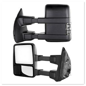 For 99 16 Ford Super Duty F250 f550 Manual Towing Mirrors Smoked Lens No Signal