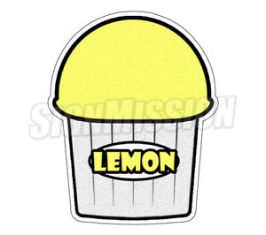 Lemon Flavor Italian Ice 36 Decal Shaved Ice Cart Trailer Stand Sticker