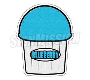 Blue Berry Flavor Italian Ice 48 Decal Shaved Cart Trailer Stand Sticker