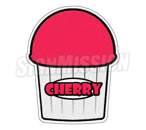 Cherry Flavor Italian Ice 36 Decal Shaved Ice Cart Trailer Stand Sticker