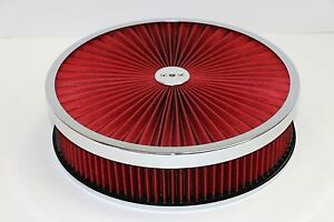 14 X 3 Chrome Round Red High Flow Thru Washable Air Cleaner Drop Base Sbc 350