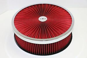 14 X 4 Chrome Round Red High Flow Thru Washable Air Cleaner Drop Base Sbc 350
