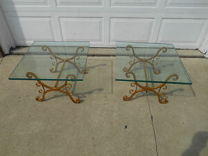 Vintage Hollywood Regency Midcentury Matching Wrought Iron Glass End Tables