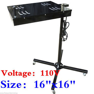 110v 16 x16 Flash Dryer Screen Printing Equipment Adjustable Stand T shirt Cure
