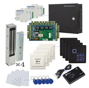 1200lbs Magnetic Lock 4 Door Computerized Prox Reader Access Control System Kit