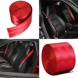 Car Seat Belt Webbing Polyester Seat Lap Retractable Nylon Safety Strap Red 3 6m