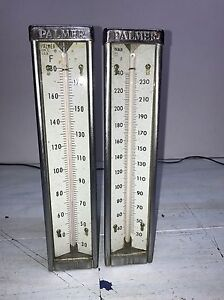 2 Vintage Palmer Thermometers 30 180 F And 30 240 F Side Probes