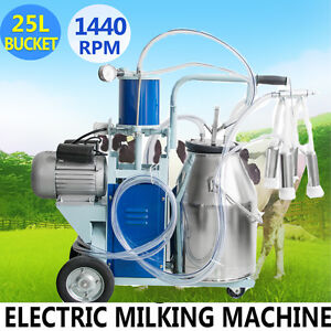 25l Electric Milking Machine For Cattle Cows W bucket 12cows hour Milker
