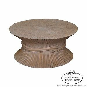 Mcguire Style Wheat Sheaf Rattan Coffee Table