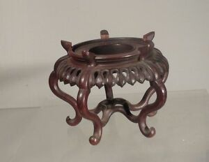 Antique Vintage Chinese Carved Hardwood Base Stand Lotus Petals Leaves