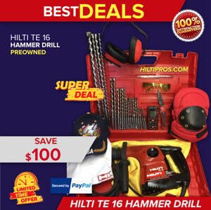 Hilti Te 16 Hammer Drill Great Condition Free Laser Meter Extras Quick Ship