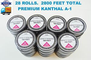 28 Rolls 2800 Ft 24 Gauge Awg A1 Kanthal Resistance Wire 0 51mm A 1