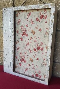 Primitive Antique Medicine Cabinet Apothecary Waverly Rose White Chippy Shabby