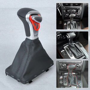 Leather Chrome At Gear Shift Knob Boot Gaiter Cover For Audi A3 A4 A5 A6 Q7 Q5