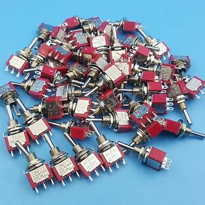 50pcs Sh T8014 3pin 3position Spdt On off on Maintained Mini Toggle Switch