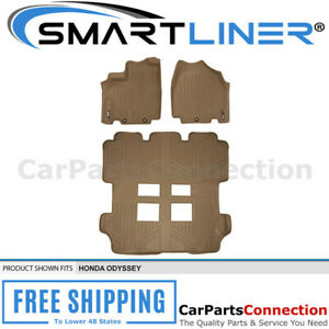 Maxliner All Weather Floor Mat For Honda Odyssey 11 17 3 Row Set Tan A1103 b1103