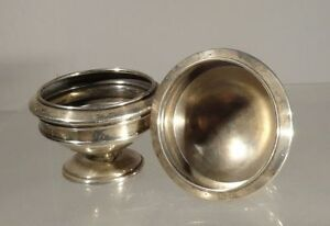 Antique Coin Silver Salt Cellars No Makers Engraved Neoclassical
