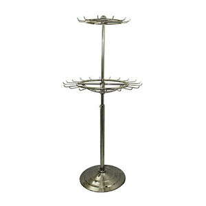 Two Tier Belt Tie Scarf Rotating Adjustable Free Standing Floor Display Rack