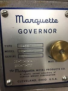 Marquette Governor Type E456m Model 21 90456 01 Detroit Diesel Generator