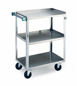 Lakeside 311 Traditional Duty Utility Cart 3 Shelves Stainless Steel 300 Lb X