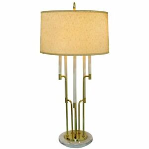 Mid Century Modern Tommi Parzinger Style Candelbra Brass Marble Table Lamp