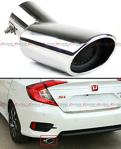 For 2016 2020 Honda Civic Stainless Steel Polished Muffler Exhaust Tip Finisher