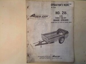 New Idea S 302 Operator s Manual For 216 Power Take off Manure Spreader
