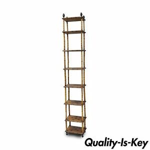 87 Tall Victorian English Charred Bamboo Stand Etagere Bookcase Narrow Shelf