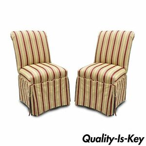 Pair Of Red Gold Upholstered Accent Side Chairs Skirted Parsons Rolled Back