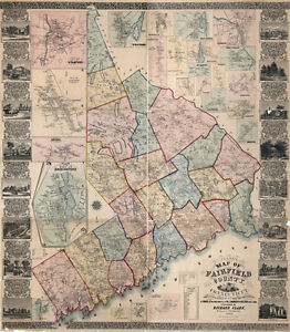 1858 Map Of Fairfield County Connecticut Genealogy Large 35 X 40