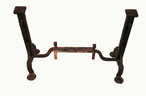 Antique Cast Iron Andirons From 1920 S Great Fireplace Tools