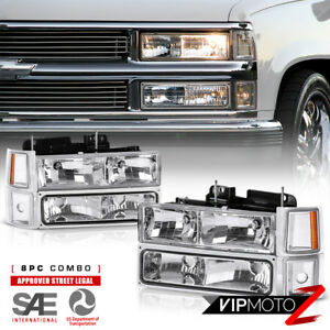 1994 1998 Chevy Silverado Suburban Tahoe Ck Chrome Bumper Signal Headlight Lamps