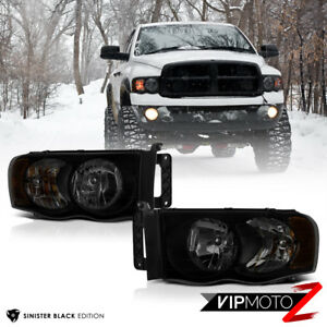 For 2002 05 Dodge Ram 1500 Sinister Black Front Headlights 03 05 Ram 2500 3500