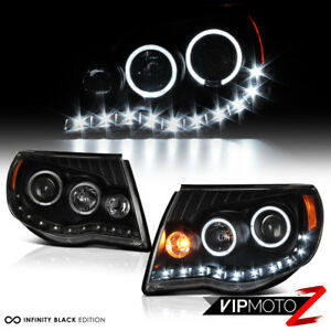 For 05 11 Toyota Tacoma Trd Style Black Angel Eye Led Drl Headlights Assembly