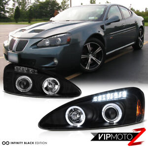 Black Halo Angel Eye Led Drl Projector Headlight Lamp 04 08 Pontiac Grand Prix