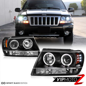 For 99 04 Jeep Grand Cherokee Wj Wg Black Led Halo Angel Eye Projector Headlight