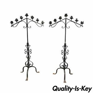 61 Pair Of Antique Gothic Mission Arts Crafts Wrought Iron Candelabras Church