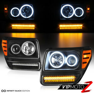 bright Ccfl Halo Ring 2007 2011 Dodge Nitro Projector Led Drl Headlights Pair
