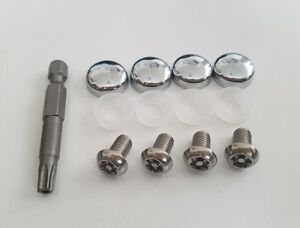 Audi Security Anti Theft Luxury Auto License Plate Screws Chrome Covers Bolts