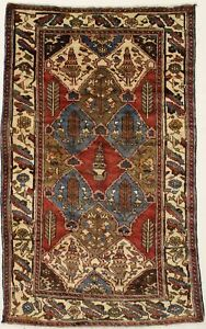 Hand Knotted Semi Antique Tribal Bakhtiari Persian Area Rug Oriental Carpet 4x7