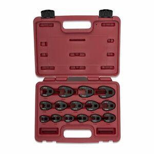 Crow Foot Flare Nut Wrench Set 15pc 38 12in Drive Ratchet Extension Large Tool