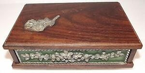 Vintage Sewing Jewelry Box Very Heavy Wood Metal 7 1 2 X 4 1 2
